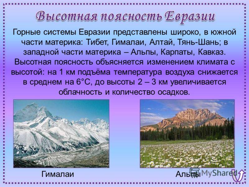 АльпыГималаи Горные системы Евразии представлены широко, в южной части материка: Тибет, Гималаи, Алтай, Тянь-Шань; в западной части материка – Альпы, Карпаты, Кавказ. Высотная поясность объясняется изменением климата с высотой: на 1 км подъёма темпер