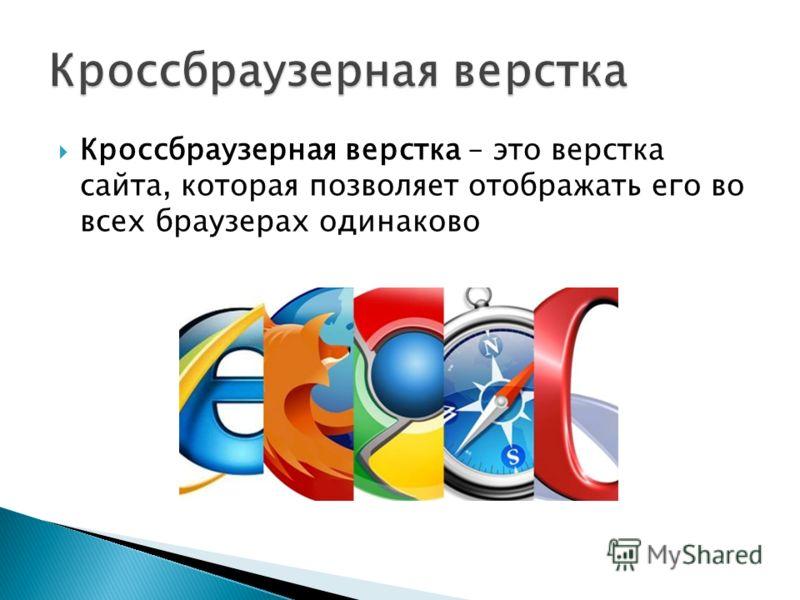 Кроссбраузерная верстка – это верстка сайта, которая позволяет отображать его во всех браузерах одинаково