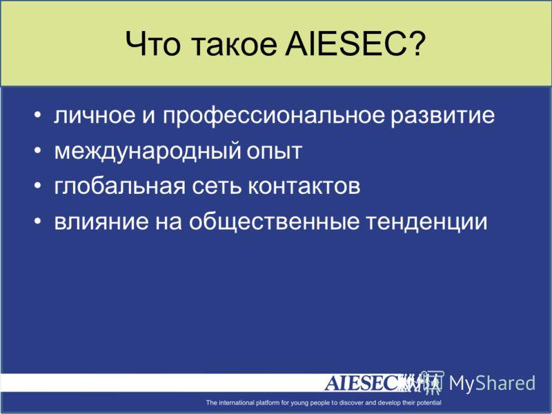 Что такое AIESEC? личное и профессиональное развитие международный опыт глобальная сеть контактов влияние на общественные тенденции