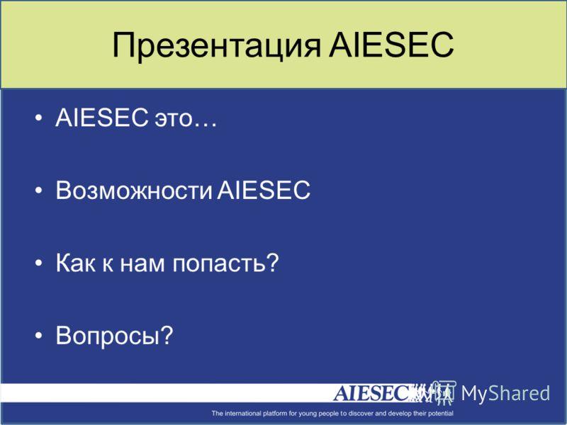 Презентация AIESEC AIESEC это… Возможности AIESEС Как к нам попасть? Вопросы?