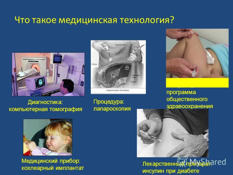 Вакцинация или иная программа общественного здравоохранения Что такое медицинская технология? Лекарственный препарат: инсулин при диабете Медицинский прибор: кохлеарный имплантат Диагностика: компьютерная томография Процедура: лапароскопия