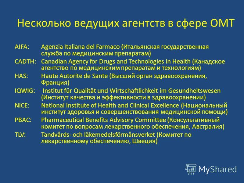 Несколько ведущих агентств в сфере ОМТ AIFA:Agenzia Italiana del Farmaco (Итальянская государственная служба по медицинским препаратам) CADTH:Canadian Agency for Drugs and Technologies in Health (Канадское агентство по медицинским препаратам и технол