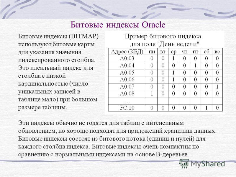 Битовые индексы Oracle Битовые индексы (BITMAP) используют битовые карты для указания значения индексированного столбца. Это идеальный индекс для столбца с низкой кардинальностью (число уникальных записей в таблице мало) при большом размере таблицы.