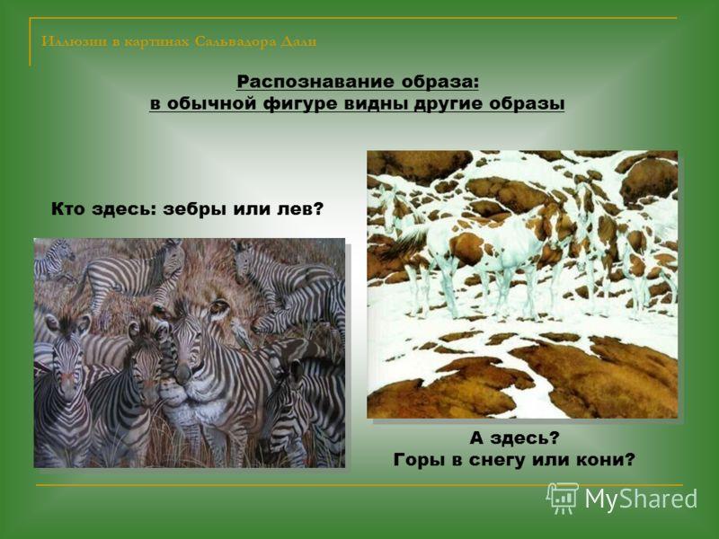 Иллюзии в картинах Сальвадора Дали Распознавание образа: в обычной фигуре видны другие образы Кто здесь: зебры или лев? А здесь? Горы в снегу или кони?