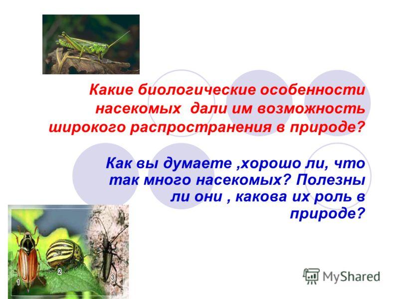 Какие биологические особенности насекомых дали им возможность широкого распространения в природе? Как вы думаете,хорошо ли, что так много насекомых? Полезны ли они, какова их роль в природе?