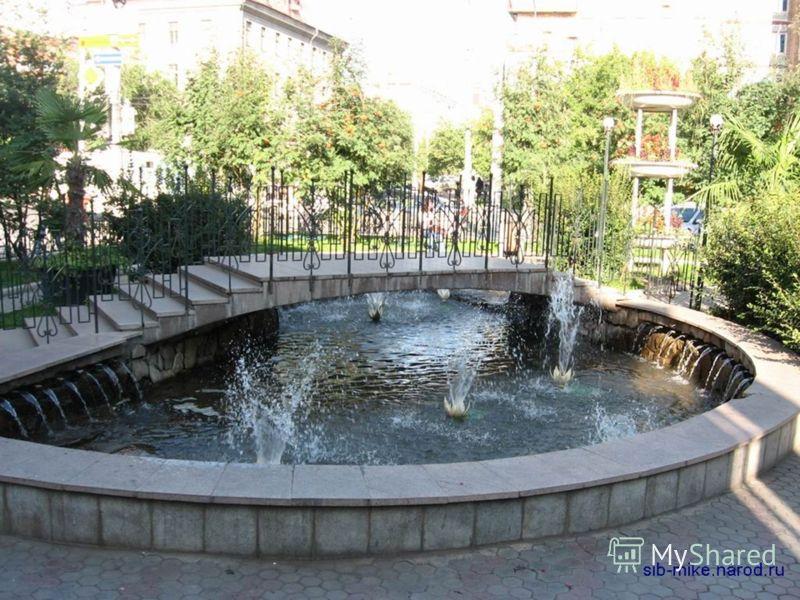 Самые любимые фонтаны горожан - это, конечно, фонтаны на театральной площади: изумительной красоты цветомузыкальный Городской фонтан но на данный момент был построен новый фонтан на его месте его название ещё неизвестно, и открытый к 377-летию города