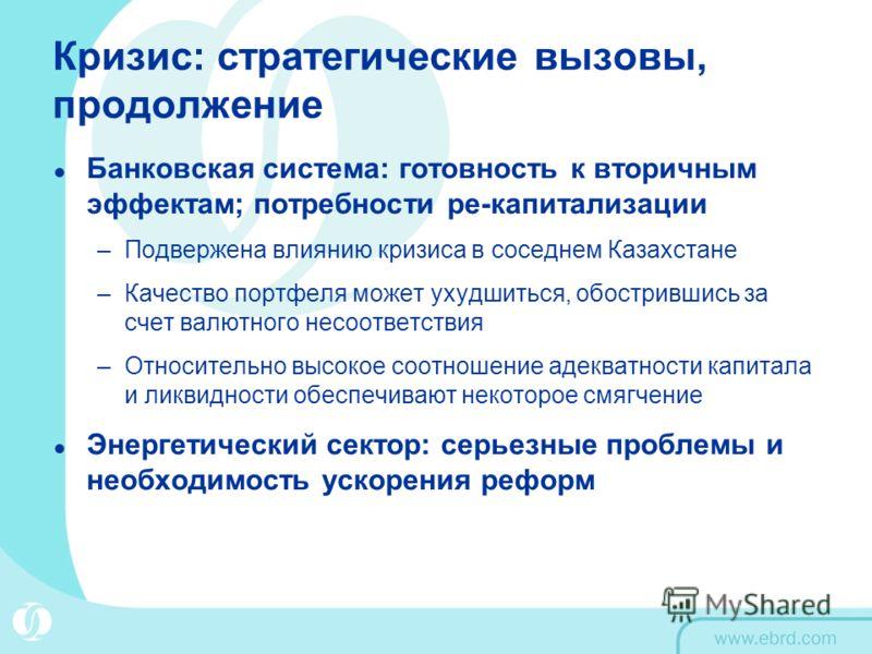 Кризис: стратегические вызовы, продолжение Банковская система: готовность к вторичным эффектам; потребности ре-капитализации –Подвержена влиянию кризиса в соседнем Казахстане –Качество портфеля может ухудшиться, обострившись за счет валютного несоотв
