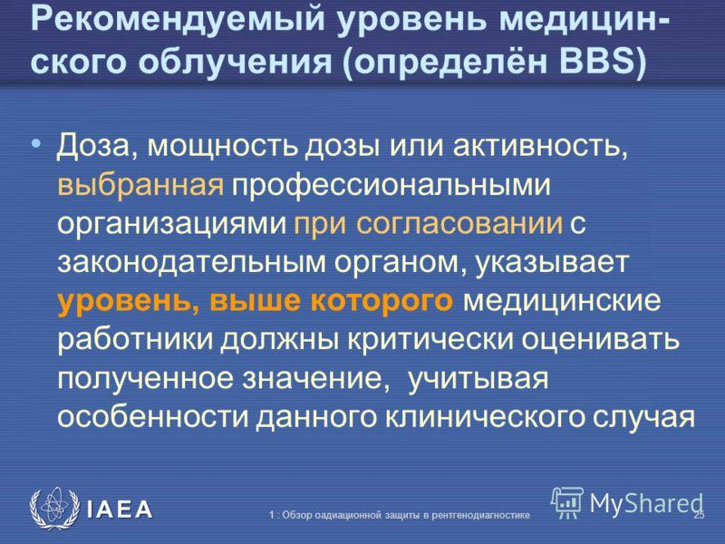 IAEA International Atomic Energy Agency Часть 1: Обзор радиационной защиты в рентгенодиагностике Тема 4: Рекомендуемые (или эталонные) уровни – практические аспекты Учебный материал МАГАТЭ по радиационной защите в диагностике и интервенционной радиол