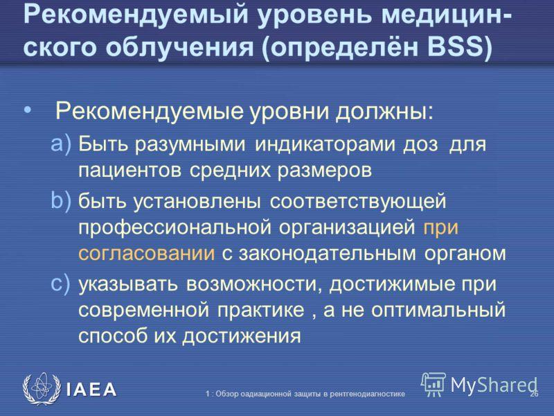 IAEA 1 : Обзор оадиационной защиты в рентгенодиагностике25 Рекомендуемый уровень медицин- ского облучения (определён BBS) Доза, мощность дозы или активность, выбранная профессиональными организациями при согласовании с законодательным органом, указыв