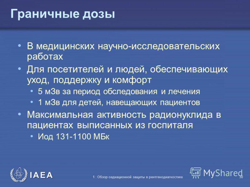 IAEA 1 : Обзор оадиационной защиты в рентгенодиагностике29 Граничные дозы медицинского облучения Граничные дозы медицинского облучения следует использовать только при оптимизации защиты людей, облучаемых с целью исследования, или непрофессионалов, ко