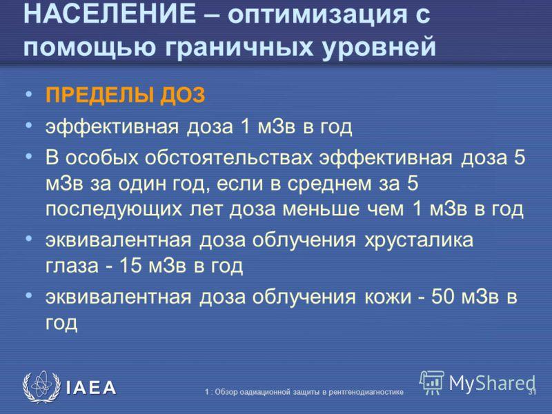IAEA 1 : Обзор оадиационной защиты в рентгенодиагностике30 Граничные дозы В медицинских научно-исследовательских работах Для посетителей и людей, обеспечивающих уход, поддержку и комфорт 5 мЗв за период обследования и лечения 1 мЗв для детей, навещаю