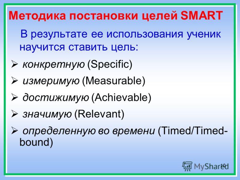 10 Методика постановки целей SMART В результате ее использования ученик научится ставить цель: конкретную (Specific) измеримую (Measurable) достижимую (Achievable) значимую (Relevant) определенную во времени (Timed/Timed- bound)