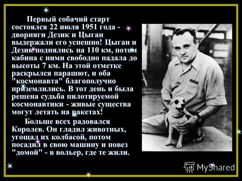 Первые «космонавты» Перед учеными стояла задача - вывести на орбиту живое существо. И дорогу в космос для человека проложили собаки. Испытания на животных начались еще в 1949 году. Первых