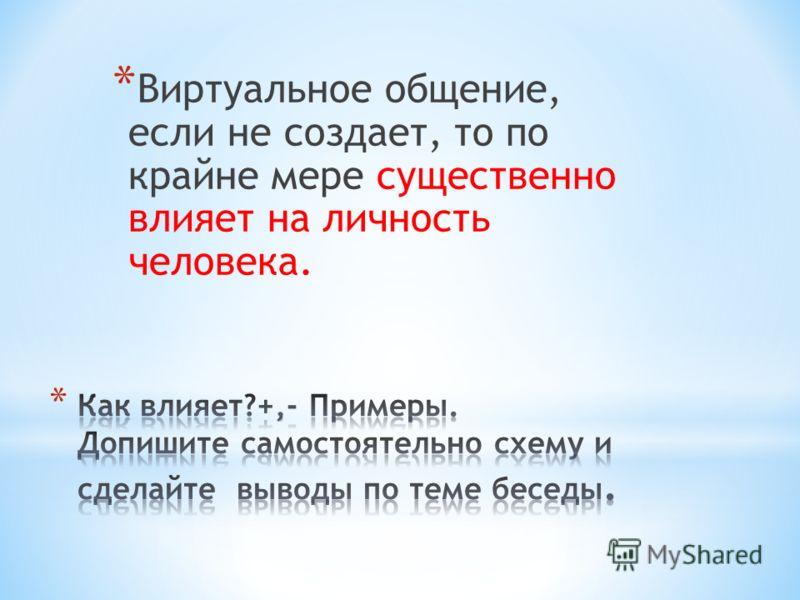 * Виртуальное общение, если не создает, то по крайне мере существенно влияет на личность человека.