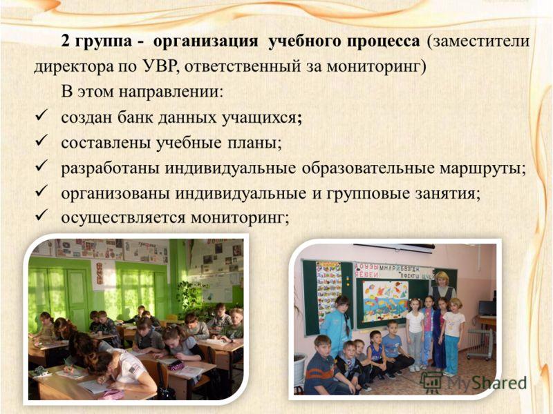 2 группа - организация учебного процесса (заместители директора по УВР, ответственный за мониторинг) В этом направлении: создан банк данных учащихся; составлены учебные планы; разработаны индивидуальные образовательные маршруты; организованы индивиду