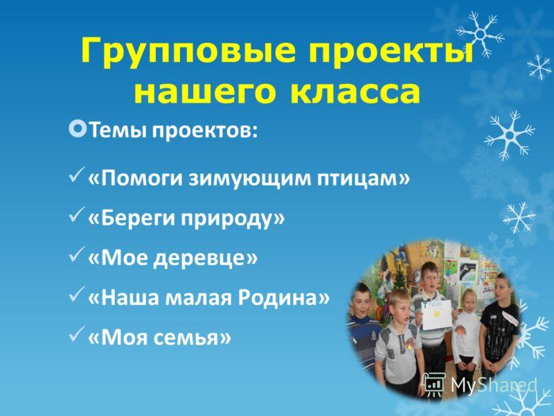 Групповые проекты нашего класса Темы проектов: «Помоги зимующим птицам» «Береги природу» «Мое деревце» «Наша малая Родина» «Моя семья»