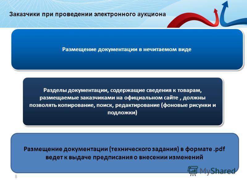 Заказчики при работе на электронной площадке 8 Размещение документации в нечитаемом виде Разделы документации, содержащие сведения к товарам, размещаемые заказчиками на официальном сайте, должны позволять копирование, поиск, редактирование (фоновые р