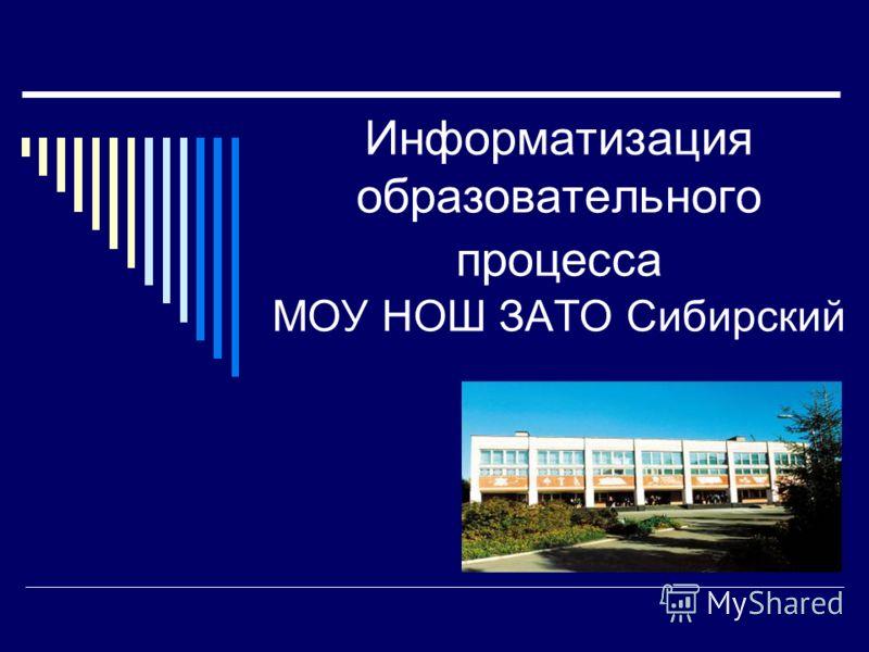 Информатизация образовательного процесса МОУ НОШ ЗАТО Сибирский