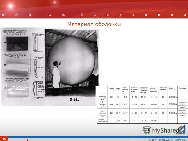 © ФГУП «НПО им. С. А. Лавочкина» Материал оболочки 15