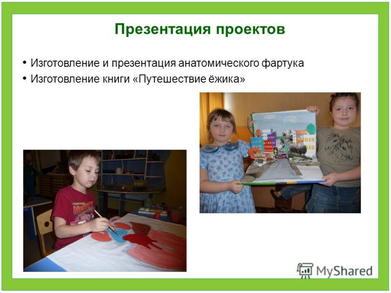 Презентация проектов Изготовление и презентация анатомического фартука Изготовление книги «Путешествие ёжика»