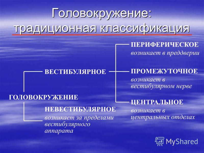 Головокружение: традиционная классификация ПЕРИФЕРИЧЕСКОЕ возникает в преддверии ПРОМЕЖУТОЧНОЕ возникает в вестибулярном нерве ЦЕНТРАЛЬНОЕ возникает в центральных отделах ВЕСТИБУЛЯРНОЕ НЕВЕСТИБУЛЯРНОЕ возникает за пределами вестибулярного аппарата ГО