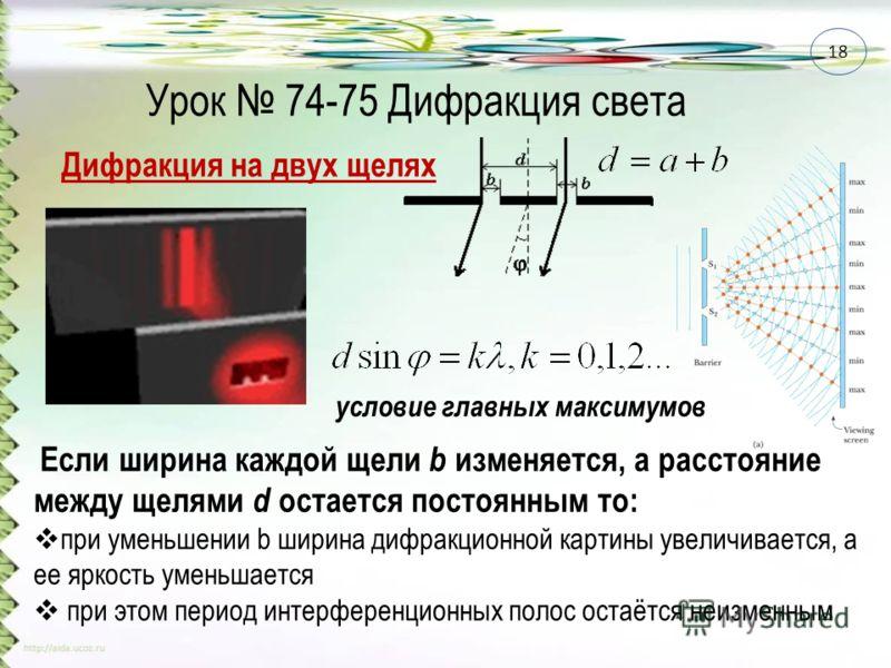 Урок 74-75 Дифракция света Дифракция на двух щелях Если ширина каждой щели b изменяется, а расстояние между щелями d остается постоянным то: при уменьшении b ширина дифракционной картины увеличивается, а ее яркость уменьшается при этом период интерфе