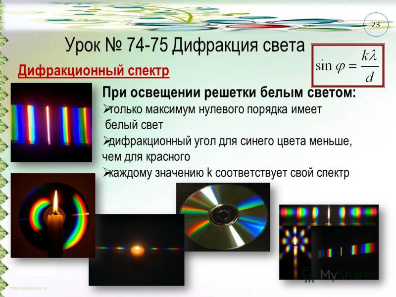 Урок 74-75 Дифракция света Дифракционный спектр При освещении решетки белым светом: только максимум нулевого порядка имеет белый свет дифракционный угол для синего цвета меньше, чем для красного каждому значению k соответствует свой спектр 23