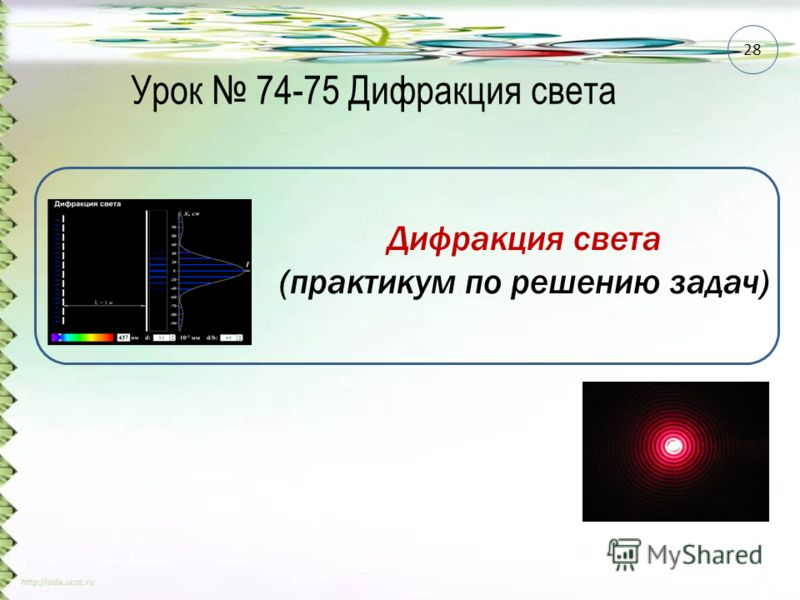 Урок 74-75 Дифракция света 28 Дифракция света (практикум по решению задач)