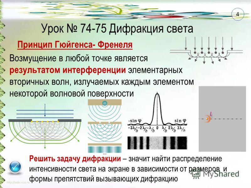 Принцип Гюйгенса- Френеля Возмущение в любой точке является результатом интерференции элементарных вторичных волн, излучаемых каждым элементом некоторой волновой поверхности Решить задачу дифракции – значит найти распределение интенсивности света на