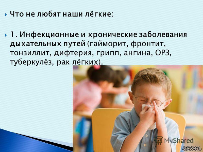 Что не любят наши лёгкие: 1. Инфекционные и хронические заболевания дыхательных путей (гайморит, фронтит, тонзиллит, дифтерия, грипп, ангина, ОРЗ, туберкулёз, рак лёгких).