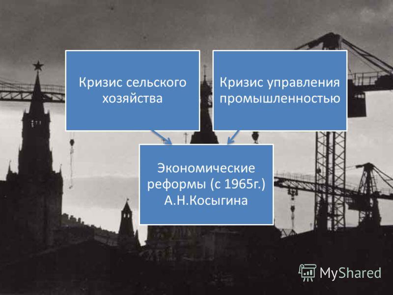 Кризис сельского хозяйства Кризис управления промышленностью Экономические реформы (с 1965г.) А.Н.Косыгина