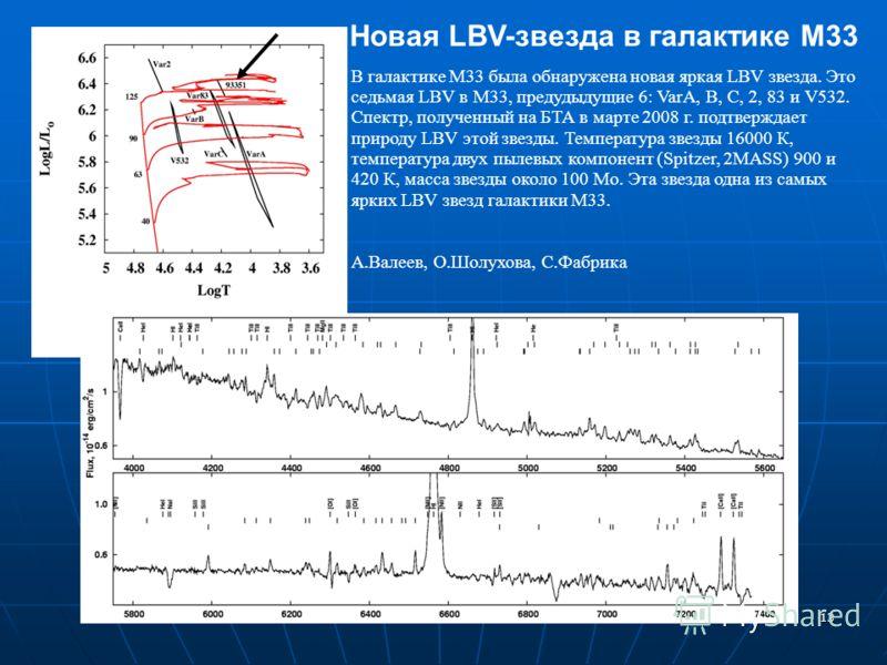 13 Новая LBV-звезда в галактике М33 В галактике М33 была обнаружена новая яркая LBV звезда. Это седьмая LBV в М33, предудыдущие 6: VarA, B, C, 2, 83 и V532. Спектр, полученный на БТА в марте 2008 г. подтверждает природу LBV этой звезды. Температура з