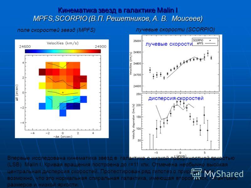 Кинематика звезд в галактике Malin I MPFS,SCORPIO (В.П. Решетников, А. В. Моисеев) Впервые исследована кинематика звезд в галактике с низкой поверхностной яркостью (LSB) Malin I. Кривая вращения построена до r=11 кпк. Отмечена необычно высокая центра