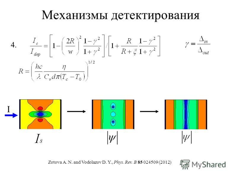 Механизмы детектирования Zotova A. N. and Vodolazov D. Y., Phys. Rev. B 85 024509 (2012) 4. I
