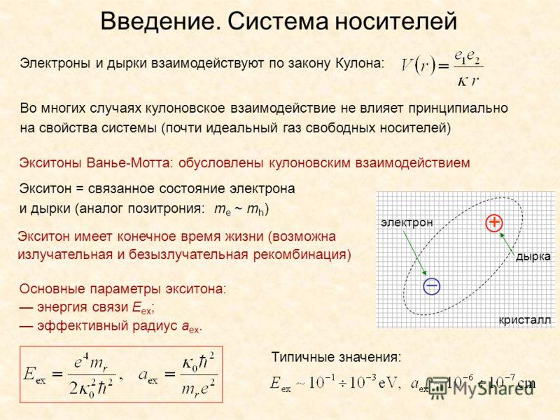 Экситоны Ванье-Мотта: обусловлены кулоновским взаимодействием Электроны и дырки взаимодействуют по закону Кулона: Введение. Система носителей Во многих случаях кулоновское взаимодействие не влияет принципиально на свойства системы (почти идеальный га
