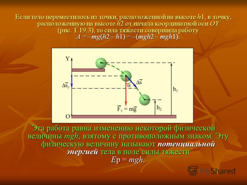 Если тело переместилось из точки, расположенной на высоте h1, в точку, расположенную на высоте h2 от начала координатной оси OY (рис. 1.19.3), то сила тяжести совершила работу A = –mg(h2 – h1) = –(mgh2 – mgh1). Эта работа равна изменению некоторой фи