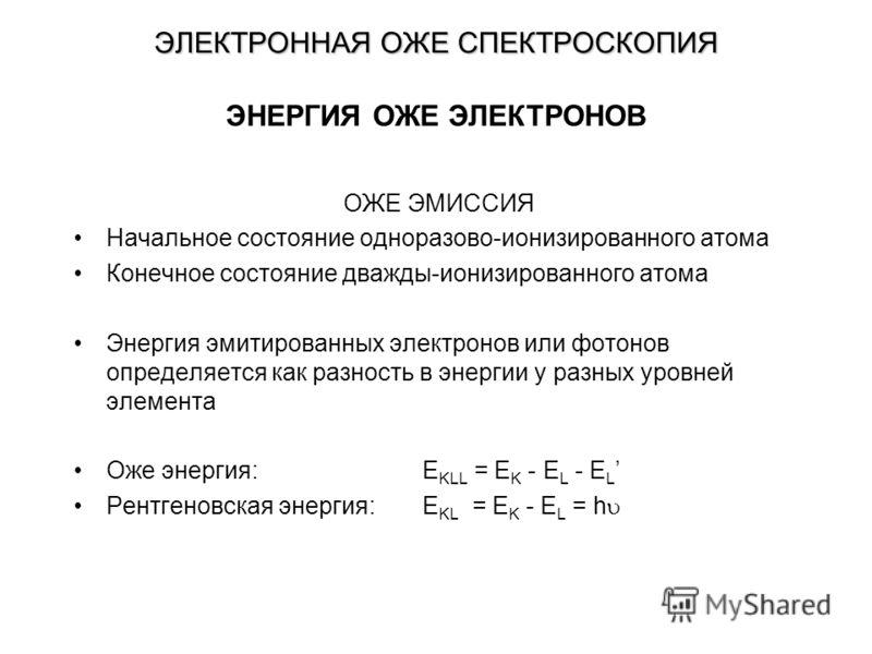 ЭЛЕКТРОННАЯ ОЖЕ СПЕКТРОСКОПИЯ ОЖЕ ЭМИССИЯ Начальное состояние одноразово-ионизированного атома Конечное состояние дважды-ионизированного атома Энергия эмитированных электронов или фотонов определяется как разность в энергии у разных уровней элемента