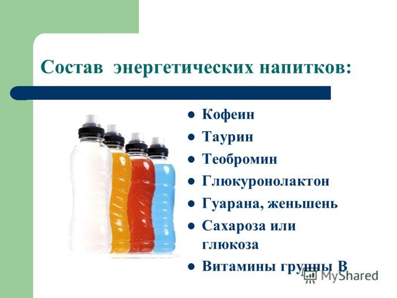 Состав энергетических напитков: Кофеин Таурин Теобромин Глюкуронолактон Гуарана, женьшень Сахароза или глюкоза Витамины группы В