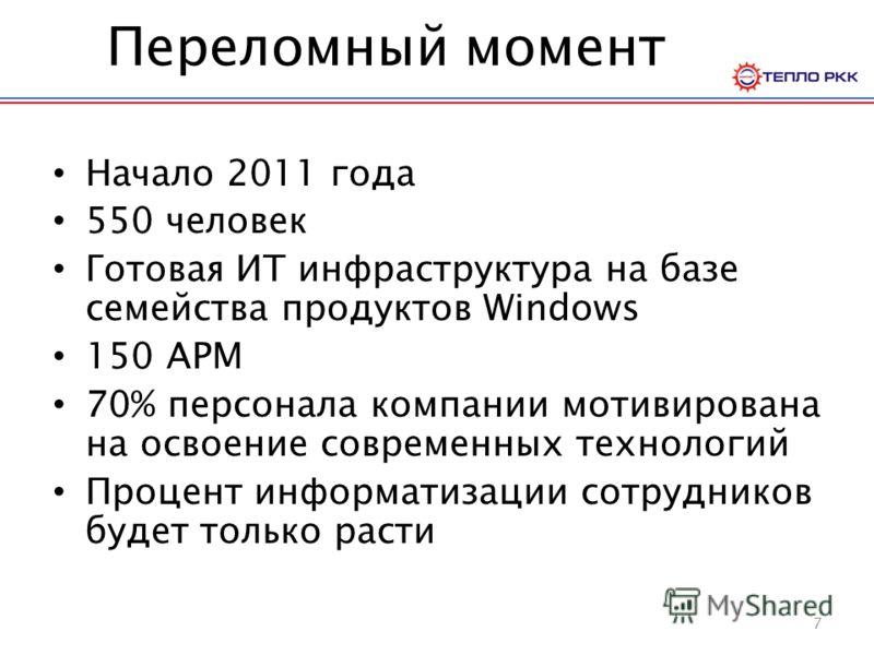 Переломный момент Начало 2011 года 550 человек Готовая ИТ инфраструктура на базе семейства продуктов Windows 150 АРМ 70% персонала компании мотивирована на освоение современных технологий Процент информатизации сотрудников будет только расти 7