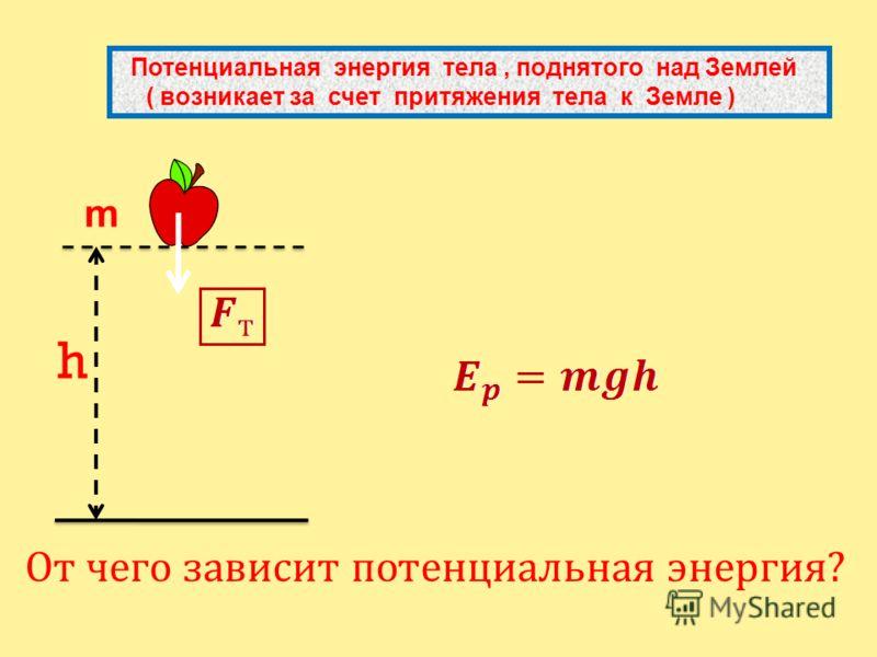 h От чего зависит потенциальная энергия? Потенциальная энергия тела, поднятого над Землей ( возникает за счет притяжения тела к Земле ) m