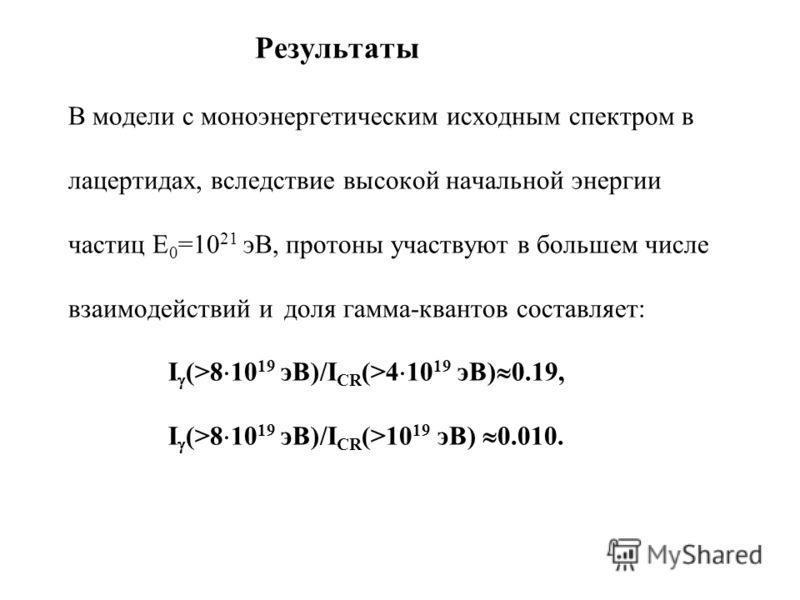 Результаты В модели с моноэнергетическим исходным спектром в лацертидах, вследствие высокой начальной энергии частиц E 0 =10 21 эВ, протоны участвуют в большем числе взаимодействий и доля гамма-квантов составляет: I (>8 10 19 эВ)/I CR (>4 10 19 эВ) 0