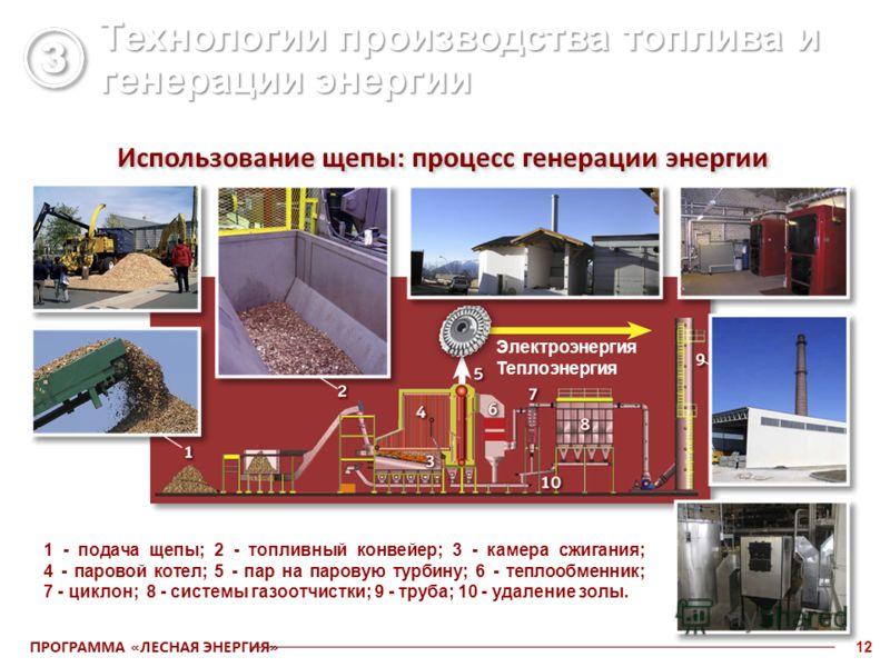 ПРОГРАММА «ЛЕСНАЯ ЭНЕРГИЯ» 12 Электроэнергия Теплоэнергия 1 - подача щепы; 2 - топливный конвейер; 3 - камера сжигания; 4 - паровой котел; 5 - пар на паровую турбину; 6 - теплообменник; 7 - циклон; 8 - системы газоотчистки; 9 - труба; 10 - удаление з