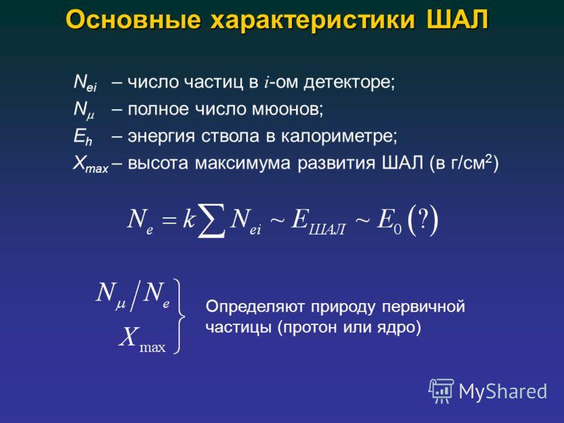 Основные характеристики ШАЛ N ei – число частиц в i -ом детекторе; N – полное число мюонов; E h – энергия ствола в калориметре; X max – высота максимума развития ШАЛ (в г/см 2 ) Определяют природу первичной частицы (протон или ядро)