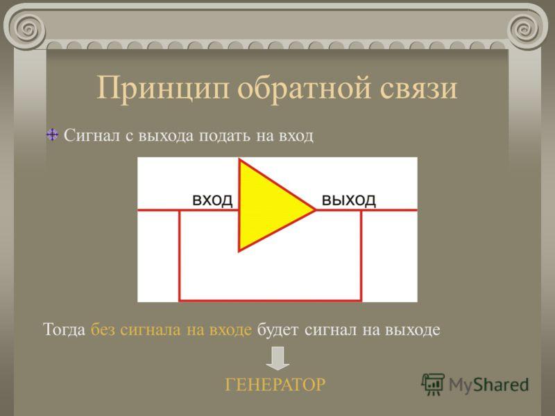 Принцип обратной связи Сигнал с выхода подать на вход Тогда без сигнала на входе будет сигнал на выходе ГЕНЕРАТОР