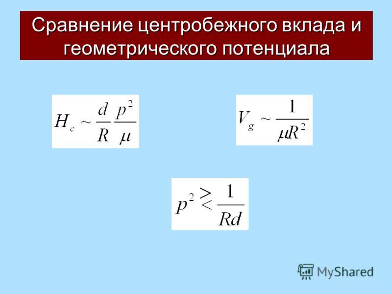 Сравнение центробежного вклада и геометрического потенциала