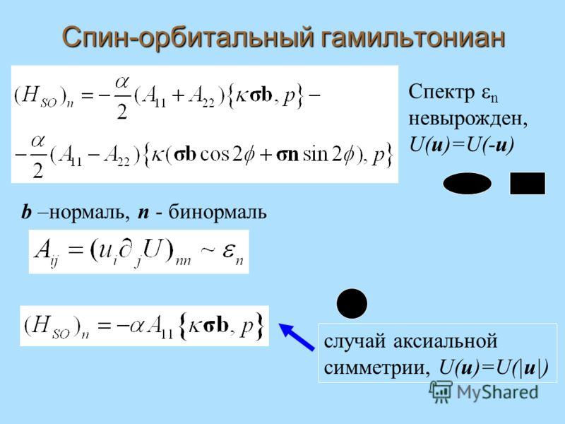 Спин-орбитальный гамильтониан Спектр n невырожден, U(u)=U(-u) b –нормаль, n - бинормаль случай аксиальной симметрии, U(u)=U(|u|)