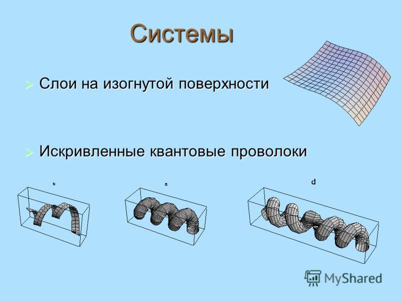 Системы Слои на изогнутой поверхности Слои на изогнутой поверхности Искривленные квантовые проволоки Искривленные квантовые проволоки