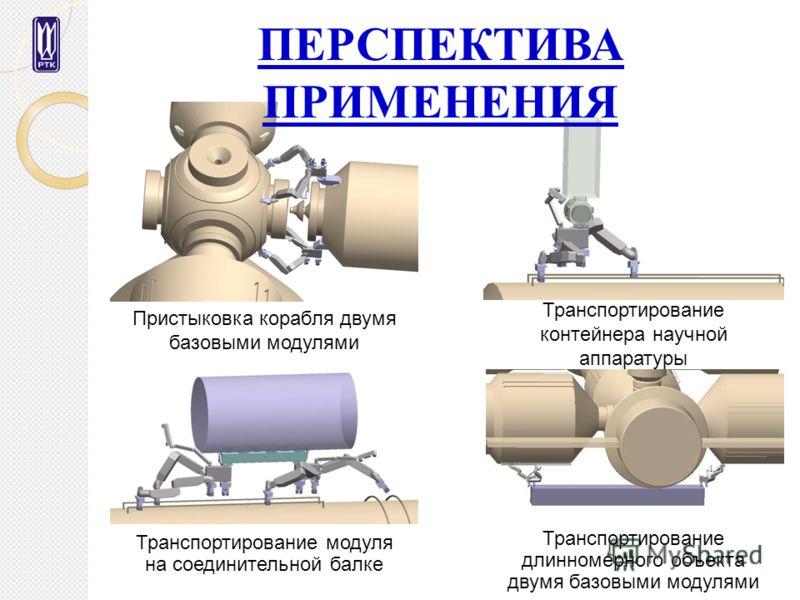 Пристыковка корабля двумя базовыми модулями Транспортирование контейнера научной аппаратуры Транспортирование модуля на соединительной балке Транспортирование длинномерного объекта двумя базовыми модулями ПЕРСПЕКТИВА ПРИМЕНЕНИЯ