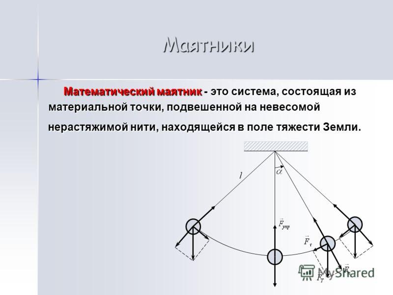 Маятники Математический маятник - это система, состоящая из Математический маятник - это система, состоящая из материальной точки, подвешенной на невесомой нерастяжимой нити, находящейся в поле тяжести Земли. материальной точки, подвешенной на невесо