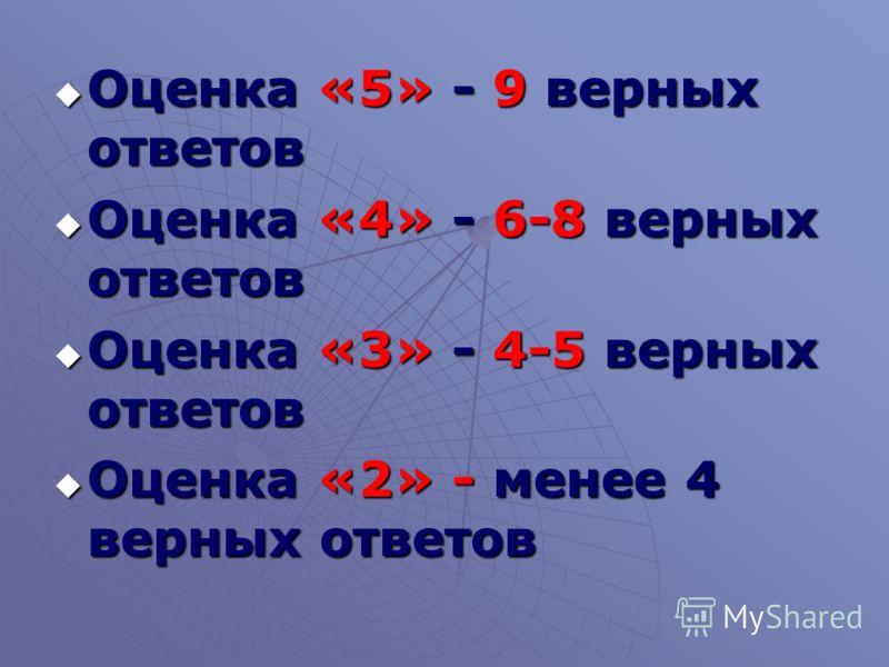 Оценка «5» - 9 верных ответов Оценка «5» - 9 верных ответов Оценка «4» - 6-8 верных ответов Оценка «4» - 6-8 верных ответов Оценка «3» - 4-5 верных ответов Оценка «3» - 4-5 верных ответов Оценка «2» - менее 4 верных ответов Оценка «2» - менее 4 верны